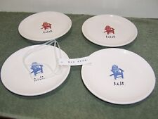 """Rae Dunn """"Relax/Rest"""" Plates By Magenta Set Of 4 Red/Blue NEW"""