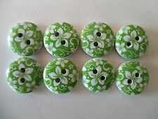 8 x 15mm  Wooden Buttons - Green with White Flower Design 2 Holes No1018