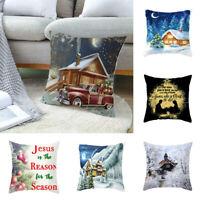 Festive Home Cover Pillow Cushion Xmas Throw Decor Gift Christmas Linen Case
