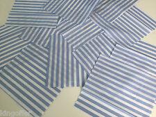 "12 x candy stripe blue polycotton 8"" or 20cm patchwork squares /fabric pieces"