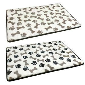 PAW PRINT SOFT MEMORY FOAM PET CAT DOG MAT BED LARGE SIZE 50x80cm BLACK OR BROWN