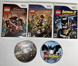 Lot 5 Lego nintendo Wii Batman Pirates Of The Caribbean Indiana Jones Tested