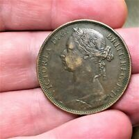 1881 H Great Britain Penny Victoria KM# 755 - Extra Nice Antique Bronze Coin!