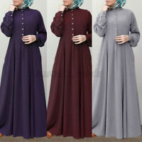 Womens Long Sleeve Button Up Kaftan Dress Abaya Muslim Flare Swing Maxi Dresses