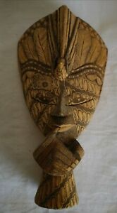 Decorative Carved Wooden Wall Hanging Tribal Mask
