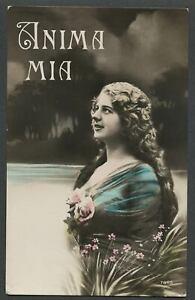 c.1920s Italian RPPC Hand Color Photo Postcard PRETTY WOMAN, ANIMA MIA, MY SOUL