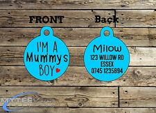 "Personalized Boy Dog Car Pet ID Name Tag Charm ""I'm A Mommy's Boy"" Double Sided"