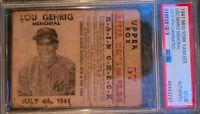 Lou Gehrig Memorial Ticket Stub July 4 1941 Yankee Stadium-Laminated-RARE🔥PSA