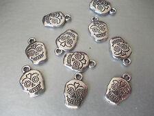 20 X Skull Candy Flor Ojos Color Plateado Tibetano Metal charms/pendants,