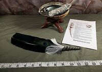 COMPLETE SMUDGE KIT ABALONE SHELL STAND SAGE BLACK FEATHER BAD ENERGY CLEARING