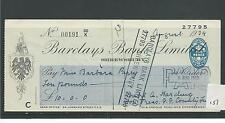 Wbc. - chèque-CH157-utilisée-années 1940-barclays bank, shrewsbury