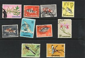 Singapore 1962-66 part set orchids, fish and birds VFU