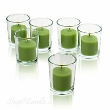 72 Clear Glass Round Votive Candle Holders & Lime Green votive candles Burn 10 H