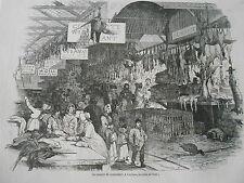 London Le Marché de Leadenhall La Veille de Noel Antique Old Print 1846