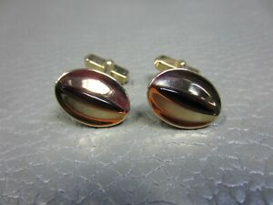 """Vintage Red Lucite """"Eyeball"""" Yellow Gold Plated Cuff Links"""