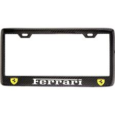 "Black ""FERRARI"" License Plate Frame, Custom Real Carbon Fiber No Vinyl"