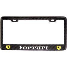 "Black ""FERRARI"" License Plate Frame, Custom Real Carbon Fiber No Vinyl"