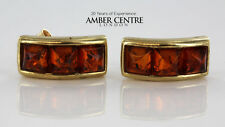 Italian Made Elegant Modern Baltic Amber Studs In 9ct Gold  RRP£160!!! GS0046