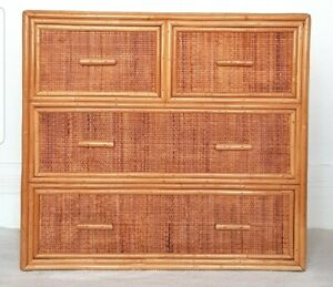 Mid century rattan chest of drawers, vintage bamboo dresser, bohemian, boho.