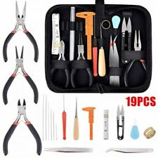19Pcs Professional Jewelry Making Kit Repair Tool Set Pliers Supplies Accessory`