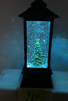 Decorated Christmas Tree Lantern Snow Globe Water SWIRLING Color Change  Lighted