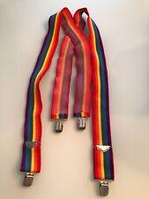 Vintage Pelican Rainbow Suspenders stretch adjust silver tone gay pride LGBT USA
