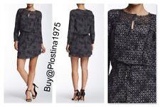 NEW $395 Rebecca Taylor Long Sleeve Box Step Silk Dress[Size :12] #B296