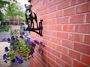 Boxer Dog Hanging Basket Bracket Metal Garden Flowers