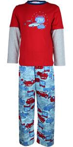 MiniZZZ Retro Cars L/S Cotton T-Shirt / Flannel Pant  Pyjama Set Red/Blue (2)