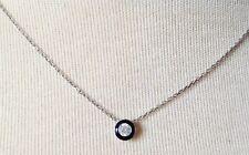 pendentif collier rétro argent 925 solitaire cristal taillé diamant émail 714