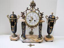 Antique French Le Roy Le Malmaison Porcelain Marble Clock w/ Pair of Urns