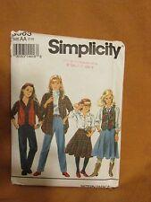 Simplicity #8563 Girls' Pants Skirt Shirt Lined Vest Sizes 7 - 10
