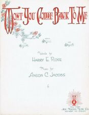 Won't You Come Back To Me, 1918, Vintage Sheet Music