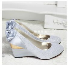 Womens Wedge Flower Bowknot Decor Platform Shallow Mouth Wedding Party Shoes SZ