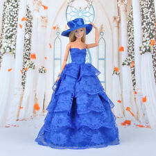 Dolls Clothes Prom Dress Blue Wedding Evening Party Gown For Barbie Dolls A
