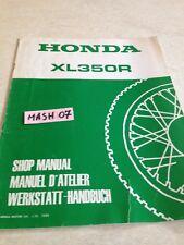 supplément manuel atelier Honda XL350R 350XLR XLR 350 Shop manual éd. 84