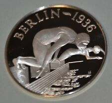 BERLIN 1936 WOMEN'S FREESTYLE - HISTORY OF THE OLYMPIC GAMES .925 SILVER MEDAL