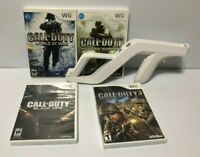 Nintendo Wii Zapper Holder Gun Games Bundle - 4 Games + Gun w/ Call Of Duty
