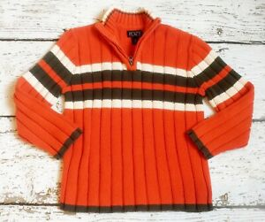 CHILDREN'S PLACE Boys Orange Brown Zip Sweater Small 5 6 VGUC