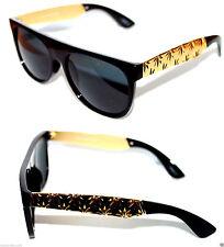Super Flat Top Sunglasses Impero Future shiny Black Gold Metal Weed Hemp Retro