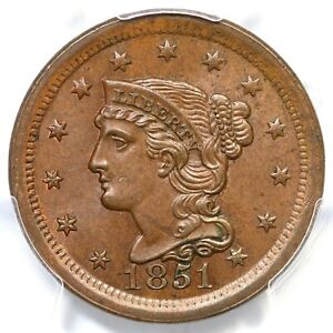 1851 N-12 PCGS MS 64+ BN CAC Braided Hair Large Cent Coin 1c