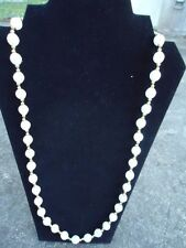 White Satin Bead with Gold Accent Bead Rope Necklace 30 inch w/ Barrel Closure