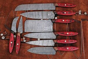 HAND MADE DAMASCUS BLADE 8 PCS KITCHEN/CHEF KNIFE SET 1046-8RD with sheet
