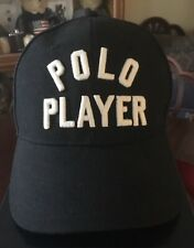 Ralph Lauren POLO PLAYER Logo Black Twill Cotton Baseball Cap Hat MED