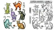 Tim Holtz Sizzix CRAZY CATS Framelits Die And Cling Stamp Set THS251