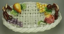 Italian Lattice White Woven Porcelain Fruit Basket 2 Handles Made in Italy CS13