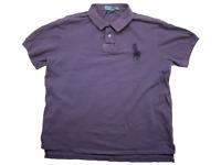 Polo Ralph Lauren Mens Size XXL Purple Short Sleeve Polo Big Pony Shirt Cotton