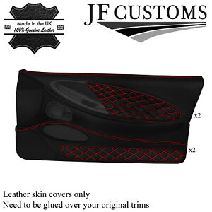 RED DIAMOND STITCH LEATHER 2X FULL DOOR CARD COVERS FOR FORD MUSTANG 94-98