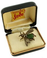 """Vintage Oval Nephrite Body Silver Tone Detailed Winged Bug Pin 1 1/4"""" Orig. Box"""