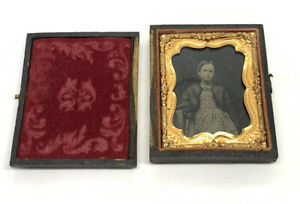 Ninth Plate Antique Ruby Ambrotype Photo Of A Young Girl in Gutta Percha Case